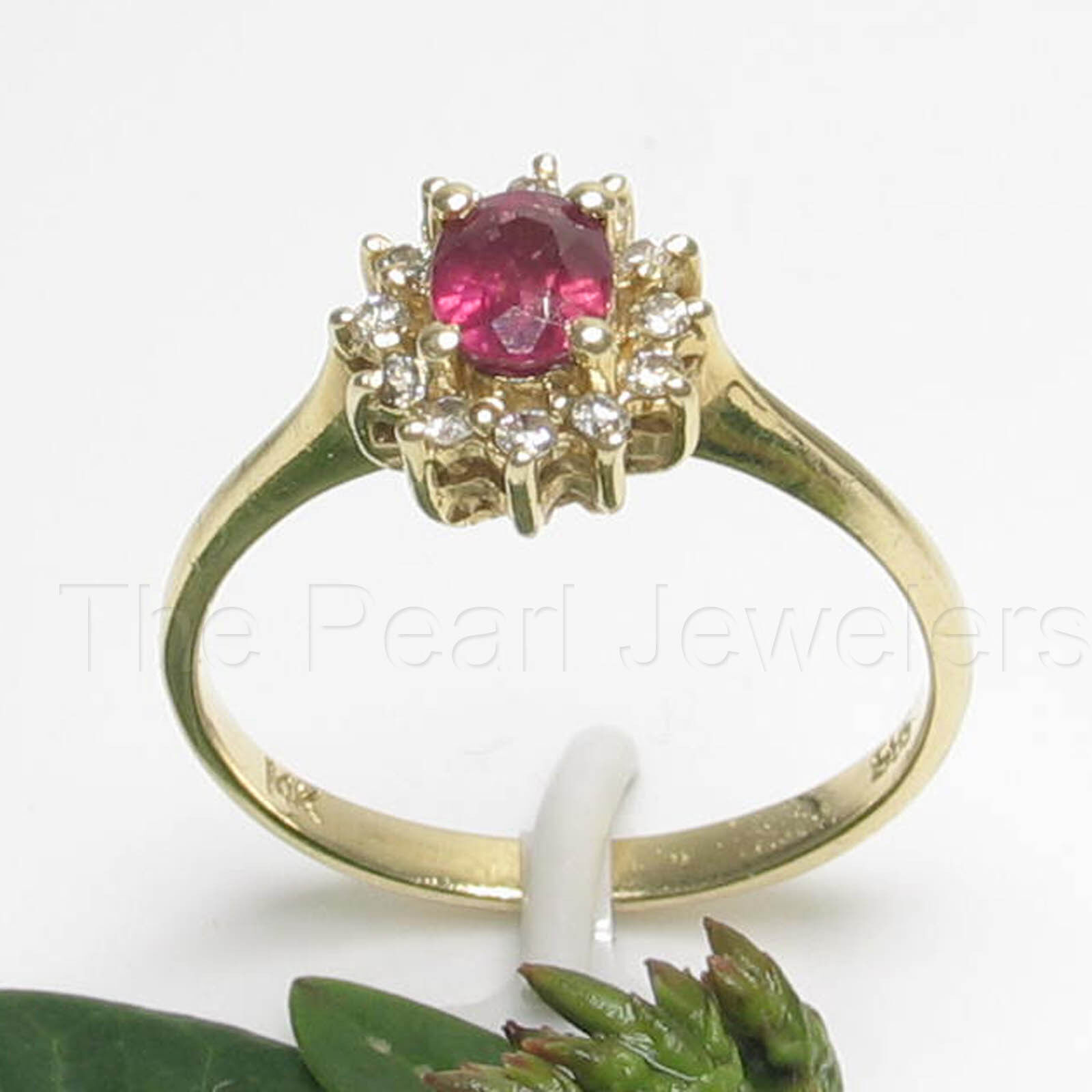 14k Yellow Solid gold Genuine Diamond & Oval Red Ruby Solitaire Accents Ring TPJ