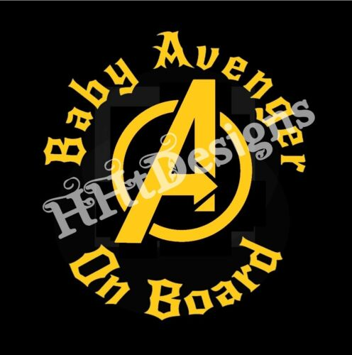 """Car Decal /""""BABY AVENGER ON BOARD/"""" 5/"""" X 5/"""" Gold lettering ~ Made in USA"""