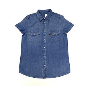 Levi-039-s-Women-039-s-Western-Denim-Shirt-a-Manches-Courtes-en-Bleu-Taille-S