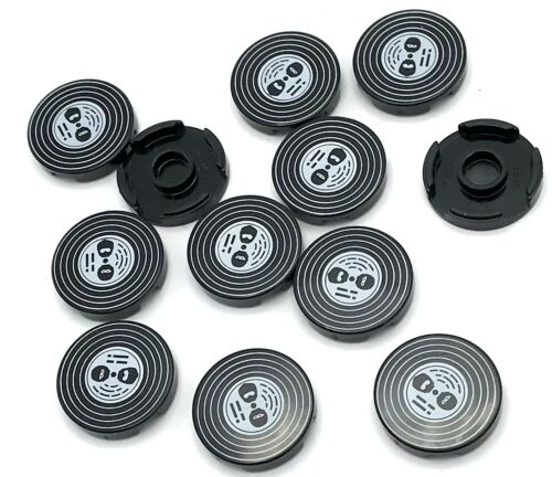 Lego 12 New Black Tiles Round 2 x 2 with Vinyl Record with Black Heads Pattern