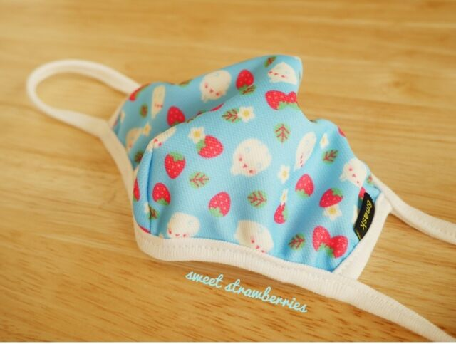 Molang Lovely Cute rabbit Bunny cubic cotton MASK series - skyblue strawberry