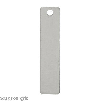 10PCs Stainless Steel Blank Stamping Tags Rectangle Pendants Silver Tone