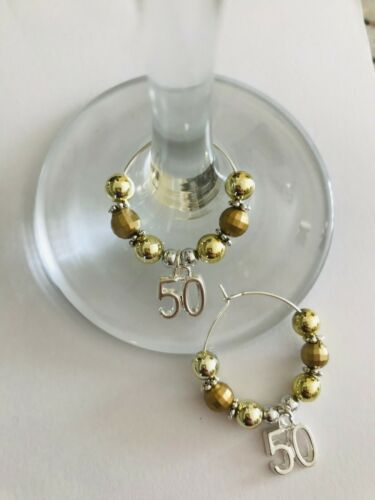 SET OF 2 CHARMS 50TH WEDDING ANNIVERSARY WINE//GIN GLASS CHARMS