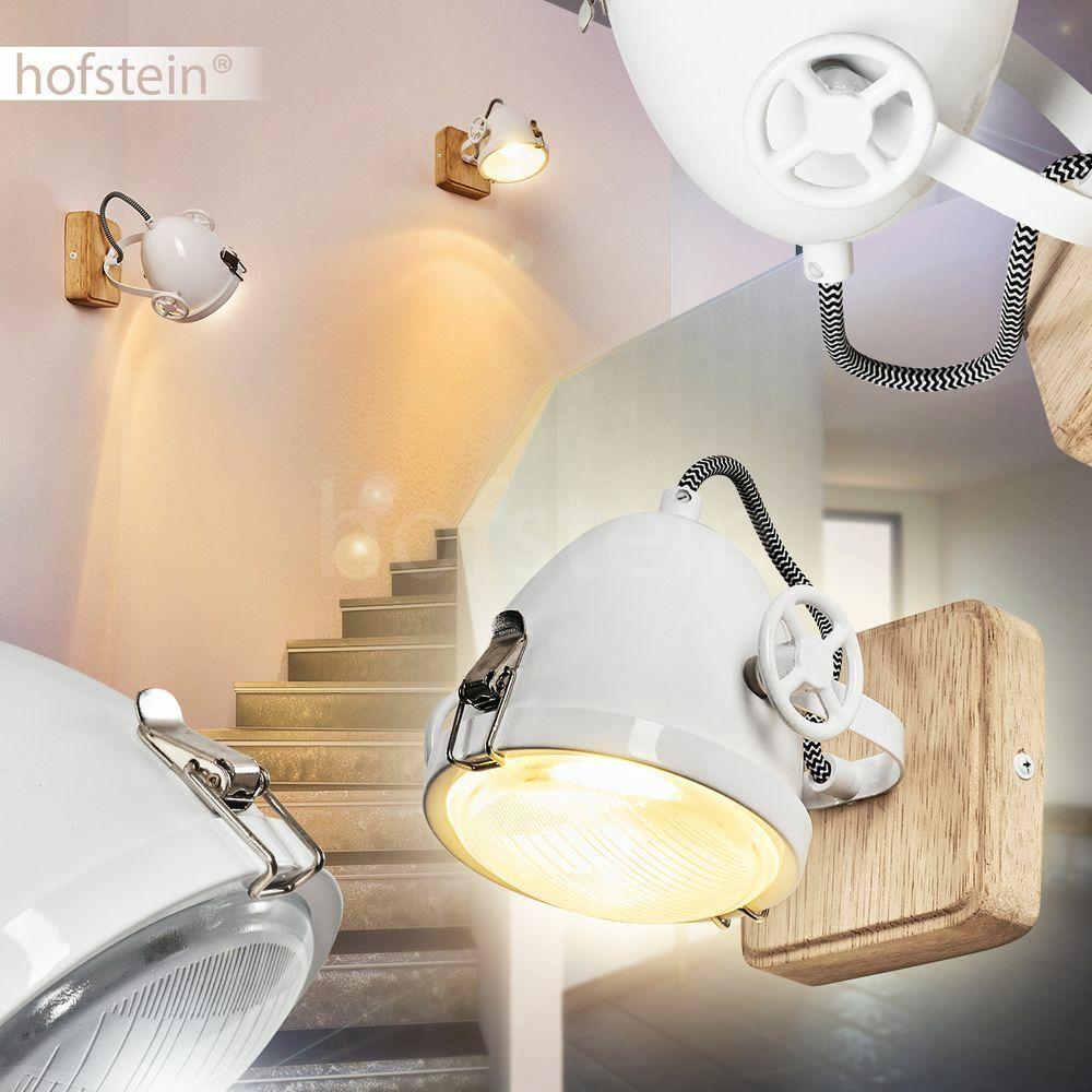 Vintage Flur Dielen Strahler Wand Lampe Holz weiß Wohn Schlaf Zimmer Leuchten