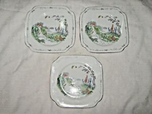 A-Lot-of-3-1930-039-s-Hand-painted-Farmhouse-Scene-English-Bone-China-Butter-Plates