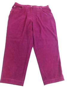 DENIM-amp-CO-WOMENS-SIZE-24W-PURPLE-PLUM-SUEDED-POLYESTER-DRESS-PANTS-CLASSIC-FIT