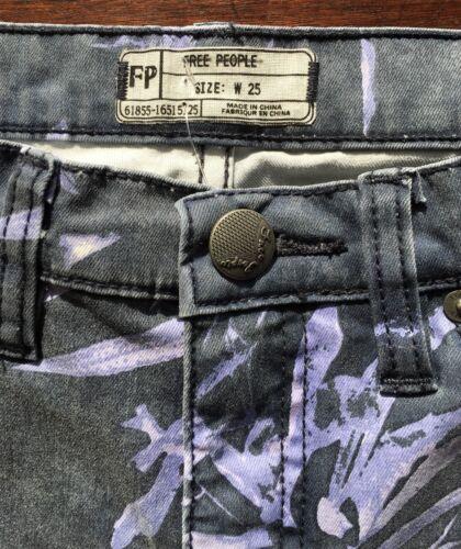 Foliage Skinny Blue Free Purple People Distressed Cropped Printed Jeans Leaf YHnB4aqB1x