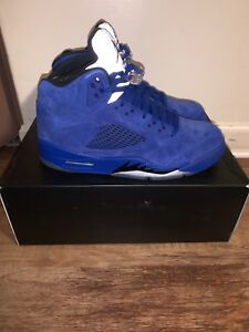 ca47667dbc4 NEW DEADSTOCK Nike Air Jordan Retro 5 Blue Suede MENS Size 8.5 100 ...