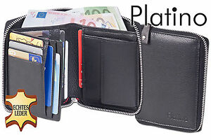Platino-Porte-Monnaie-avec-Metall-Reisverschluss-en-Meilleur-Cuir-Nappa-en-Noir