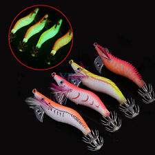 4Pcs/Lot Night Luminous Squid Jig Squid Hook Egi Shrimp Baits Fishing Lures EB