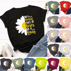 Womens-Tee-Casual-Sweatshirt-Blouse-Daisy-Ladies-Short-Sleeve-T-Shirt-Summer-Top