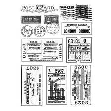 Crafty Individuals VINTAGE TICKETS AND POSTMARKS Unmounted Red Rubber Stamp