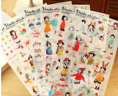 6 sheets sweet girl's diary books Notebook calendar  album deco PVC stickers
