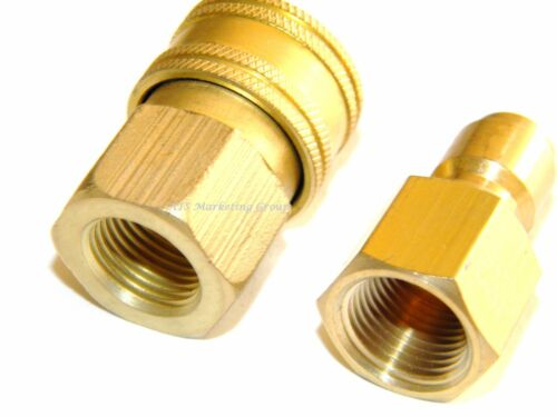 "Pressure Washer Hose Wand 1//4/"" Brass Plug /& Socket QD"