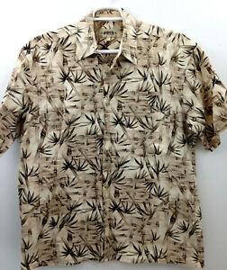 Campia-Hawaiian-Shirt-Men-039-s-Large-Brown-Tan-Bamboo-Tropical-Cotton