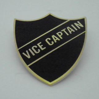 Black Vice Captain Enamel School Shield Badge