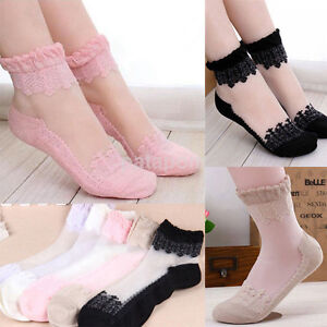 0bde83c364 Details about Comfy Crystal Sheer Transparent Thin Black Floral Lace Ruffle  Ankle Socks Lady