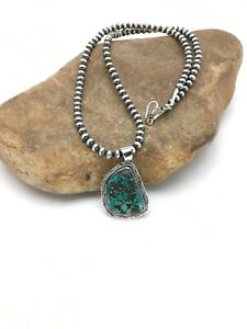 Navajo-Sterling-Silver-Spider-Web-Turquoise-Necklace-Pendant-1-5in-2696