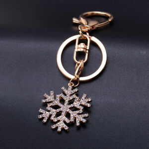 Christmas Snowflake Rhinestone Pendant Keychain Key Ring Gift Festival Xmas