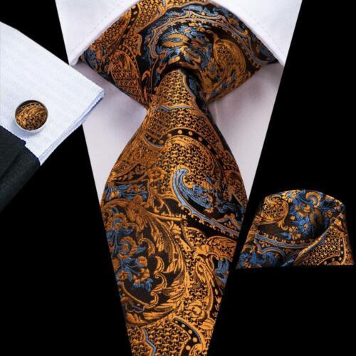 USA 299 Colors Men/'s Tie Blue Green Grey Black Jacquard Silk 100/% Necktie Set