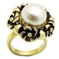 Ladies Large White Pearl Flower Gold Ep Cocktail Ring