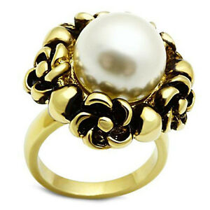 Ladies-Large-White-Pearl-Flower-Gold-EP-Cocktail-Ring