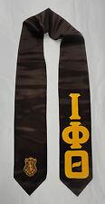 "Iota Phi Theta Brown Satin Graduation Stole Stoll Sash 4"" sewn letters w/ crest"