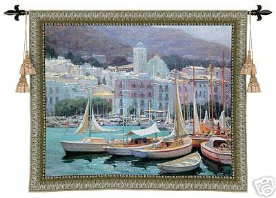 Setting Sail Seaside Harbor Landscape Picture Tapestry