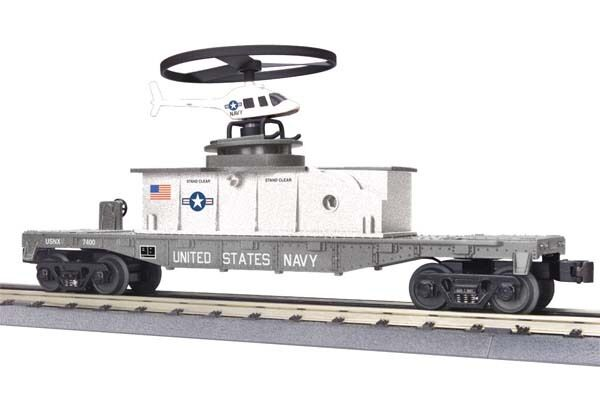 2012 MTH 30-79339 Flat Car w Operating Helicopter  U.S. Navy mint