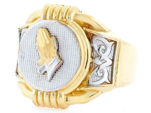 10k or 14k Two Tone Gold Religious Praying Hands Mens Ring
