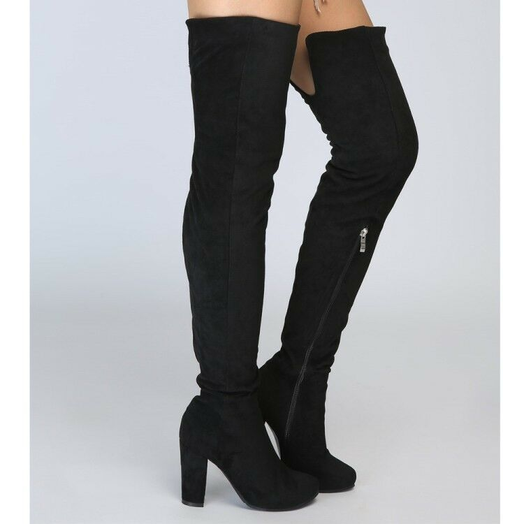 mujer Fashion Sexy Faux Suede Block High Heel Over Knee botas zapatos New R132