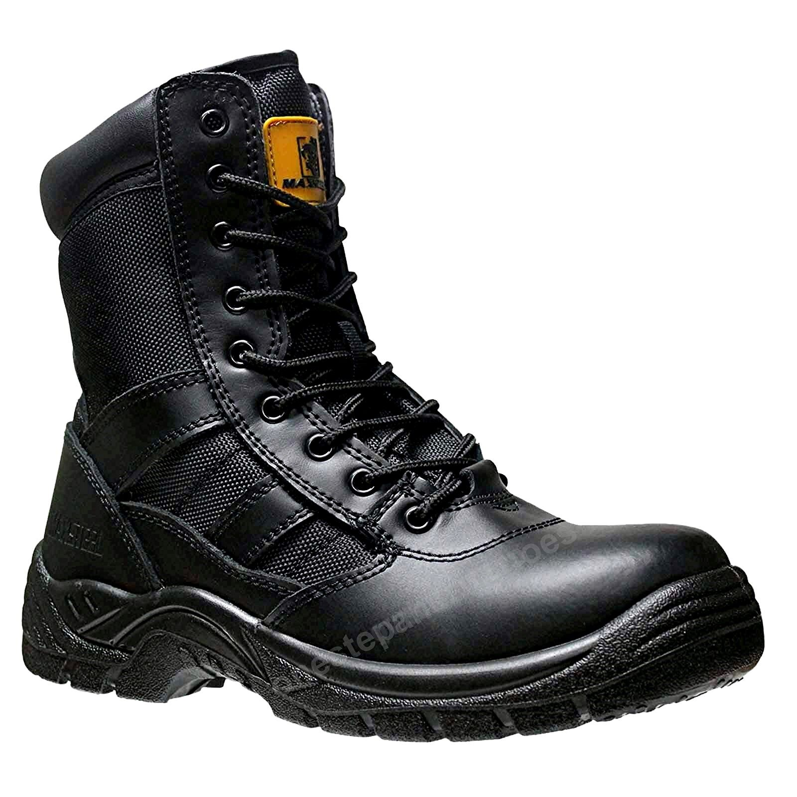Mens  non Safety Combat Boot Police Army Military CADET lace zip Boots size 7 41