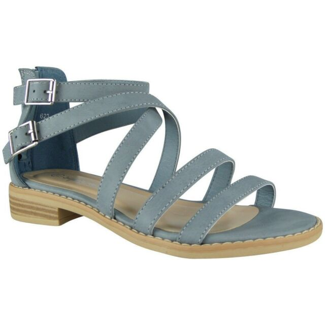 12436714f03 Womens Strappy Gladiator Sandals Ladies Summer Buckle Flats Low Heel ...