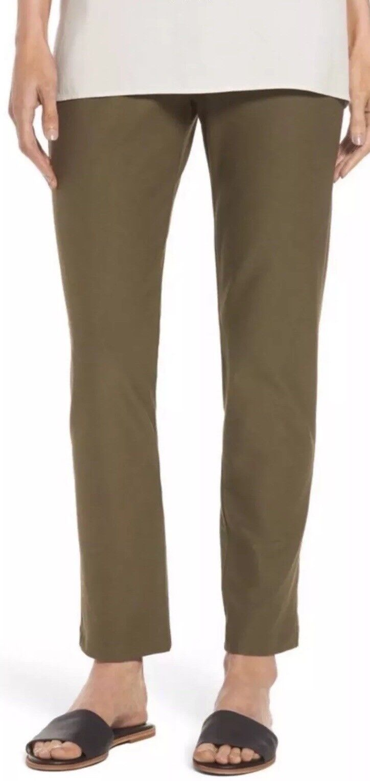 2X  NEW EILEEN FISHER OLIVE WASHABLE STRETCH CREPE SLIM ANKLE PANT