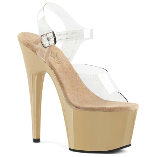 """7/"""" Clear Platform Basic Stripper Heels Exotic Pole Dance Fitness Shoes Adore-708"""
