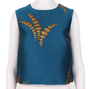 Dries-Van-Noten-Kingfisher-Blue-Bronze-Brocade-Top-FR36-UK8