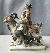 "Sitzendorf Porcelain 8"" Figurine Depicting Man Riding Goat"
