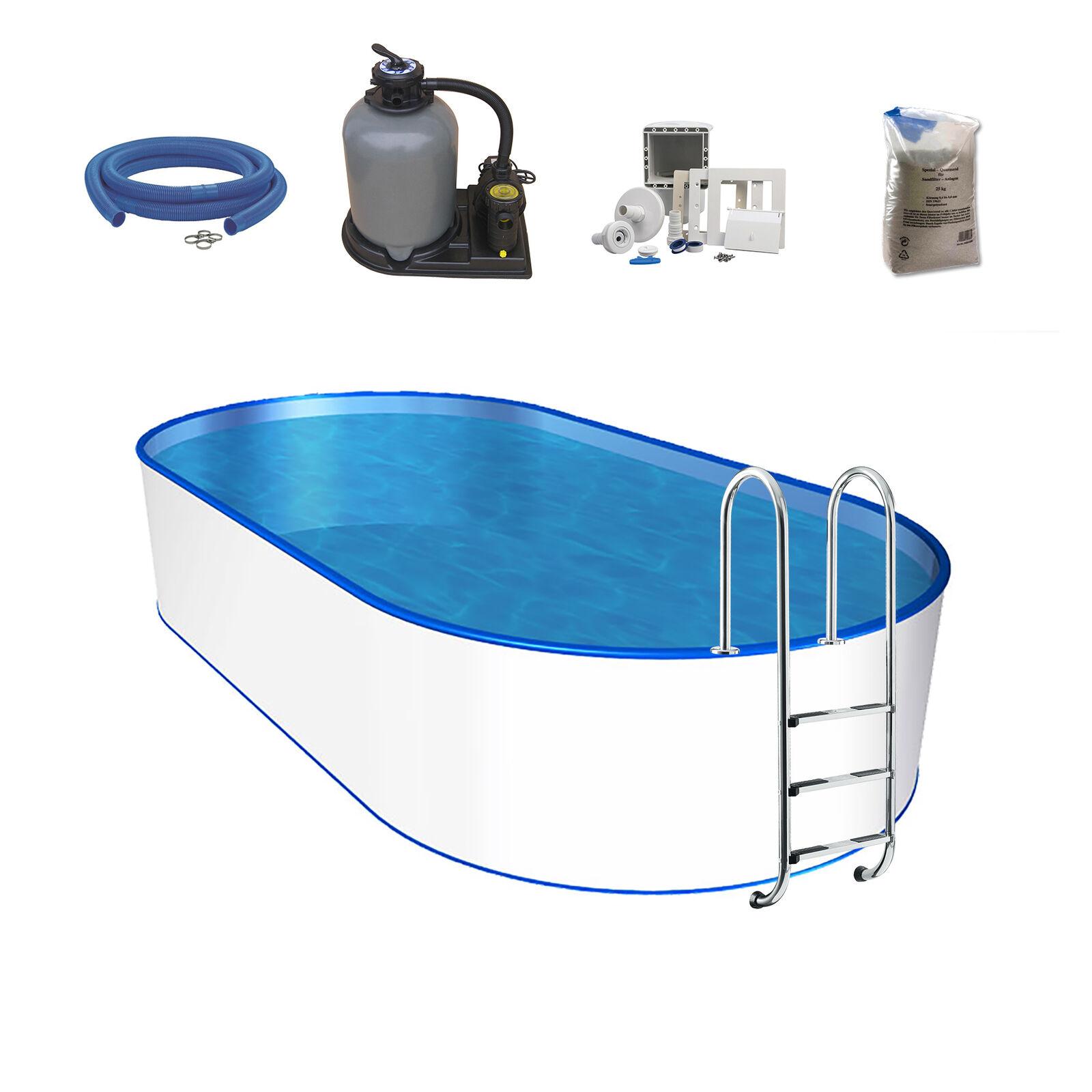 Oval-Pool-Set, Größe & Tiefe wählbar, 0,6mm Stahlwand, 0,6mm Poolfolie mit Einhä