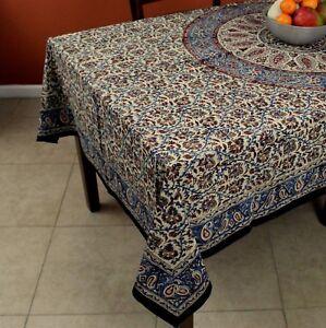 Image Is Loading Kalamkari Mandala Block Print Cotton Floral Paisley  Tablecloth