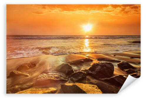 Sonnenuntergang Strand Meer Natur Landschaft Steine Postereck Poster 2608