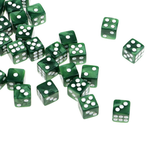 50Pcs Acrylic Six Sided Square RPG Game D6 12mm Dice Green with White Pips