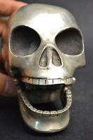 Fine Collectible Decor Handwork Old Copper Silvering Big Skull Soul Statue