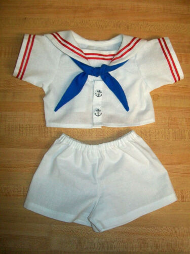 """BOYS SAILOR SUIT WHITE WITH RED TRIM+BLUE TIE for 15-16/"""" CPK Cabbage Patch Kids"""