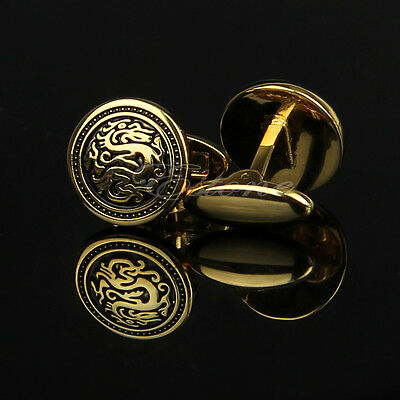 Lots Stainless Steel Men's Golden Silver Vintage Jewelry Wedding Gift Cuff Links