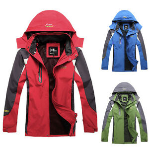 FASHION Mens Ski Waterproof Windproof Hiking Jacket Hooded Coat Outwear Overcoat