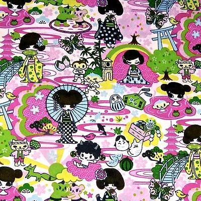 Cotton Fabric Per Yard, Kawaii Print, Children, Geishas, Manga, by Transpacific