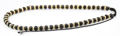 Long  shamballa faceted black glass beads gold spacer necklace on black cord