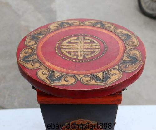 20 Chinese Wood Handwork Carved Painted pattern War Boot cabinet riding stool