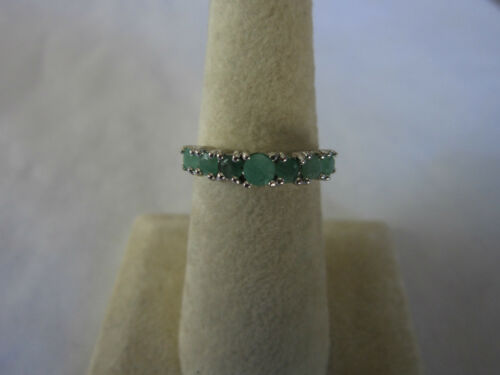 Gorgeous 7 stone Sterling Silver Real Green Emeralds ring 925 solid silver sz 6