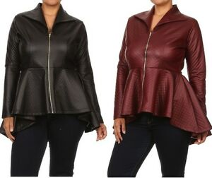 Women's Plus Peplum Fashion Jacket Top Quilted Faux ...
